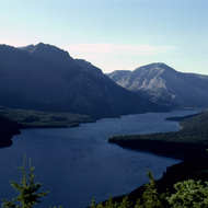Upper Waterton Lake, which crosses the border between Canada and the United States, with part in Glacier National Park (US) and part in Waterton Lakes National Park (Canada).