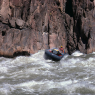 A private rafter in the throes of Granite Rapid, right up against the wall.