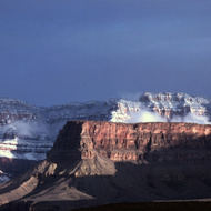The South Rim of the Grand Canyon in snow.