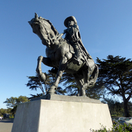 An equestrian statue of Juan Bautista de Anza at Lake Merced Park in San Francisco.