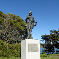 A statue of Juan Carlos III, King of Spain in Lake Merced Park in San Francisco.