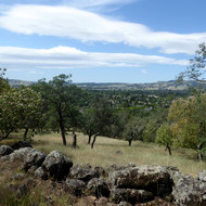 A view over the town of Sonoma, California, from Holstein Hill Trail on the Montini Open Space Preserve.