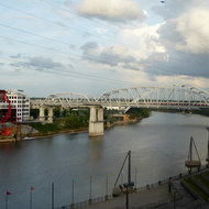 A bridge across the Cumberland River at Cumberland Park in Nashville, Tennessee.