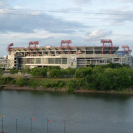 Nissan Stadium on the banks of the Cumberland River in Nashville, Tennessee.