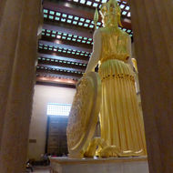 The back side of a reproduction of the Athena Parthenos statue thought to have been in the original Parthenon in Athens, Greece.
