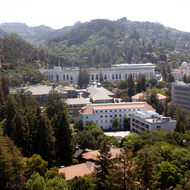 The California Memorial Stadium from the UC Berkeley Campanile tower.
