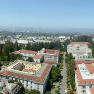 A panoramic view of the University of California, Berkeley campus from the Campanile (bell tower).