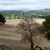 A view of the city of Sonoma from the hills above on the Montini Preserve.