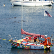 A particularly colorful boat in the Monterey harbor.