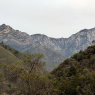 A view of mountains in the Ventana Wilderness from the Pine Ridge Trail.