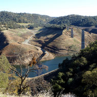 New Melones Reservoir with the Stevenot Bridge.