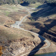 An old road leading into the New Melones Reservoir.