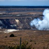 The Halema'uma'u Crater at the Hawai'i Volcanoes National Park on the Big Island.