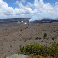 Looking out over the Kilauea crater at the Hawai'i Volcanoes National Park on the Big Island.
