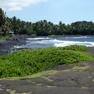 Punalu'u Black Sand Beach County Park on the Big Island of Hawai'i.