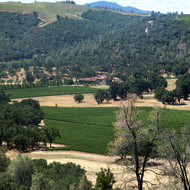 A view of vineyards and Brassfield Estate Winery in Long Valley, Lake County, California.