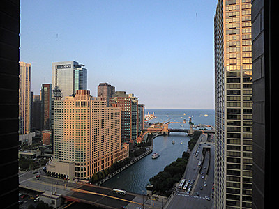 Thumbnail image ofThe Chicago River and Lake Michigan from the Hyatt...