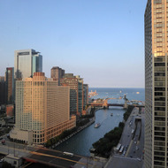 The Chicago River and Lake Michigan from the Hyatt Regency.