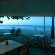The ocean from a San Juan beachside restaurant.