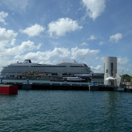 A cruise ship docked at the Port of San Juan, Puerto Rico.