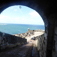 Looking out from a tunnel to the tip of the San Felipe del Morro Fortress, on Punta del Morro.