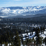 A view from a cross-country ski resort in the Sierra Nevada Mountains.