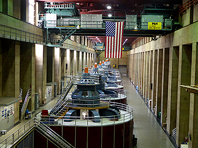 Thumbnail image ofThe interior of Hoover Dam, with the massive power...