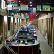 The interior of Hoover Dam, with the massive power generators.