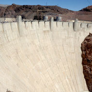 The face of Hoover Dam.