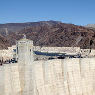 Hoover Dam with Lake Mead behind it.