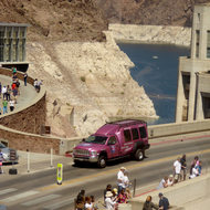 Tourists visiting the Hoover Dam.
