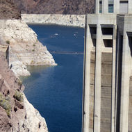 Lake Mead and an intake tower at Hoover Dam.