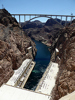 Thumbnail image of The downstream side of Hoover Dam.