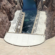 The power stations at the bottom of Hoover Dam.t