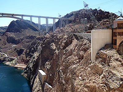 Thumbnail image ofThe downstream side of Hoover Dam.