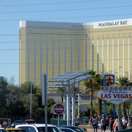 The Mandalay Bay hotel and casino in Las Vegas, Nevada with the famous welcome sign.