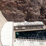 The downstream side of Hoover Dam.
