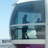 A visitor taking a selfie in the High Roller observation wheel in Las Vegas.