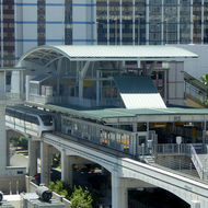 A monorail station in Las Vegas, Nevada.
