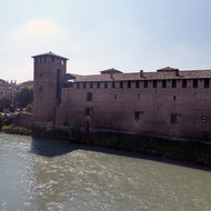 The Museo di Castelvecchio in Verona, Italy from the Ponte di Castelvecchio across the Adige River.