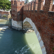 The Ponte di Castelvecchio bridge across the Adige River in Verona, Italy.