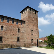 A tower at the Museo di Castelvecchio in Verona, Italy.