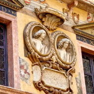 Detail of the building at the Torre dei Lamberti in Verona, Italy.