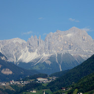 The Dolomites as seen from Bozen-Bolzano in Italy.