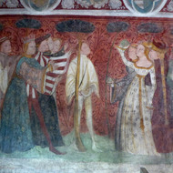 Detail of one of the frescoes at Runkelstein Castle.