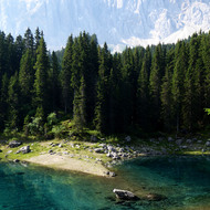 Carezza Lake in the Dolomites.