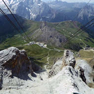 The view down the cable car line at Sass Pordoi.