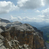 A panoramic view of the Dolomites from the top of the Sass Pordoi cable car.
