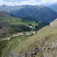 The very windy road leading to the Sass Pordoi cable car.