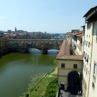 The Ponte Vecchio across the Arno River in Florence.